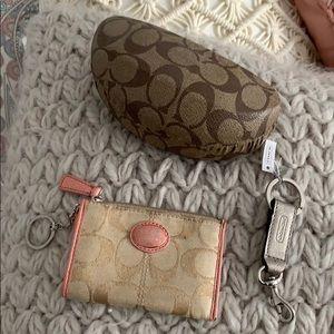 Coach glasses case,key chain, coin purse/key chain